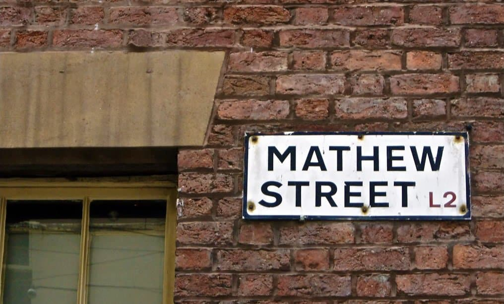 Mathew Street street sign